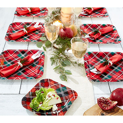 Holiday Plaid Dessert Plates 40ct Image #2