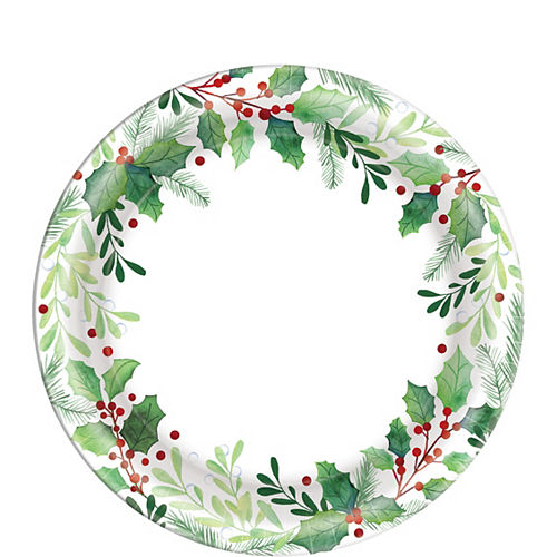 Traditional Holly Dessert Plates 40ct Image #1