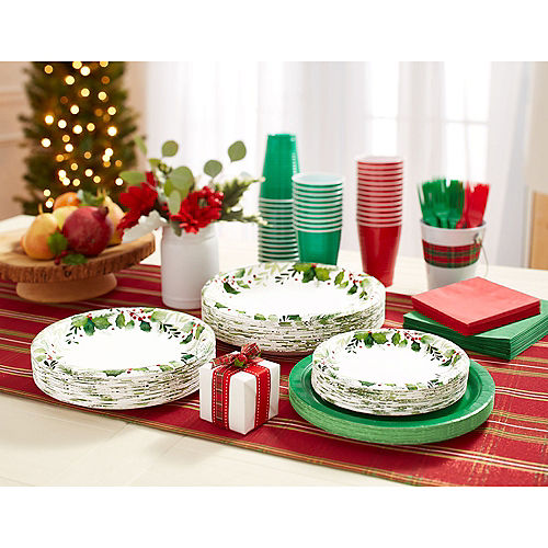 Traditional Holly Dessert Plates 40ct Image #2