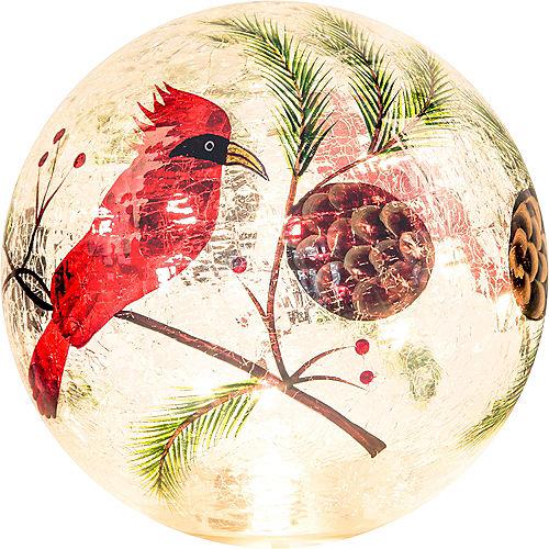 Light-Up Cardinal Crackle Glass Globe Image #1