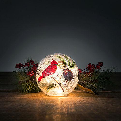 Light-Up Cardinal Crackle Glass Globe Image #2