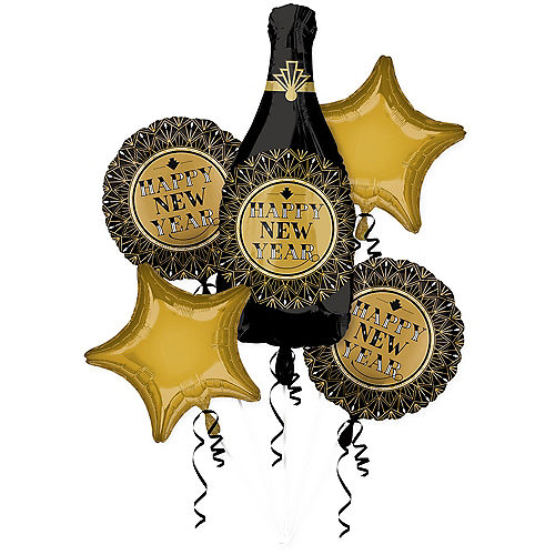 Roaring 20s New Year's Eve Balloon Bouquet 5pc Image #1