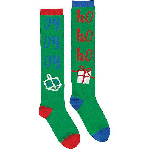 Adult Chrismukkah Knee-High Socks Image #1