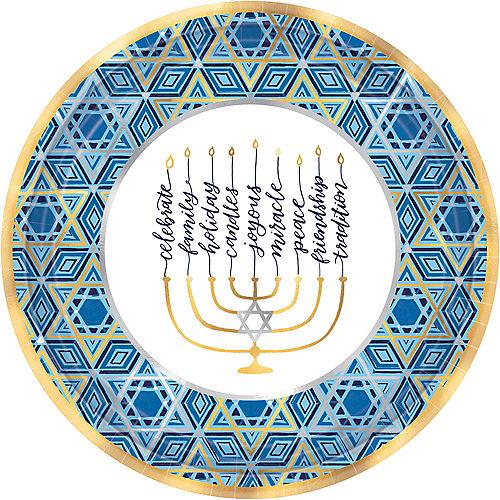 Metallic Festival of Lights Hanukkah Dinner Plates 18ct Image #1