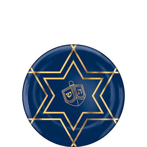Metallic Hanukkah Celebration Premium Plastic Dessert Plates 20ct Image #1