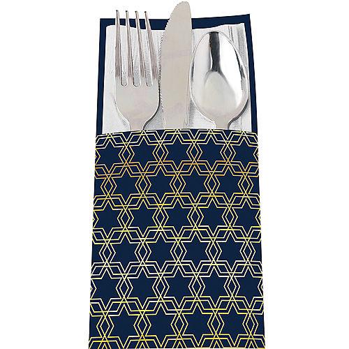 Metallic Hanukkah Celebration Cutlery Holders 12ct Image #1