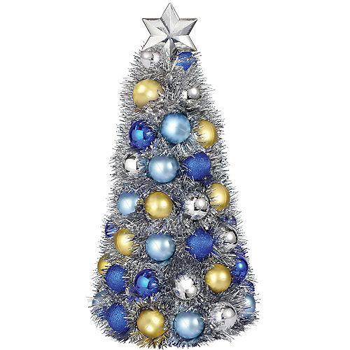 Blue, Gold & Silver Chrismukkah Ornament Tree Image #1