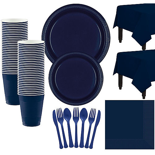 True Navy Blue Plastic Tableware Kit for 50 Guests Image #1