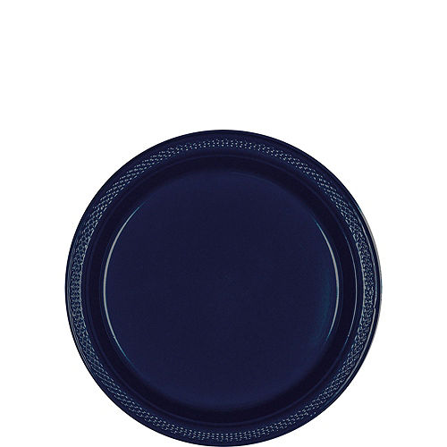 True Navy Blue Plastic Tableware Kit for 50 Guests Image #2