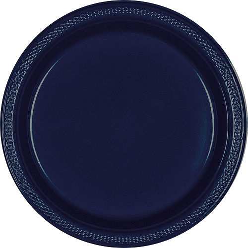 True Navy Blue Plastic Tableware Kit for 50 Guests Image #3