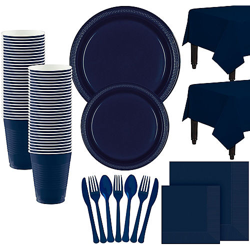 Navy Blue Paper Tableware Kit for 100 Guests Image #1