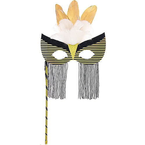 Black & Gold Striped Masquerade Mask on a Stick Image #1
