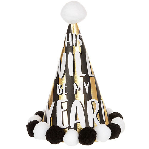 Black & Gold This Will Be My Year Cone Hat Image #1