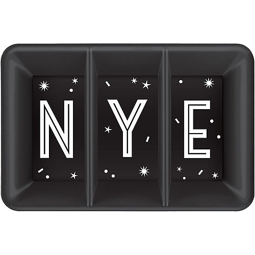Black New Year's Eve Rectangular Sectional Platter Image #1