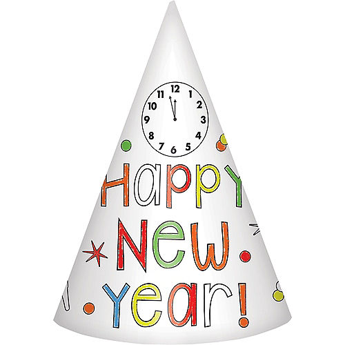 Coloring New Year's Eve Party Hats 8ct Image #1