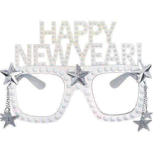 Happy New Year Star White Glasses Image #1