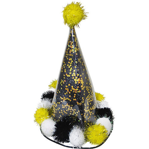 Black & Gold Glitter Party Hat Image #1