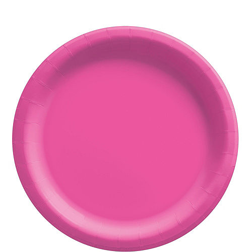 Bright Pink Paper Tableware Kit for 50 Guests Image #3