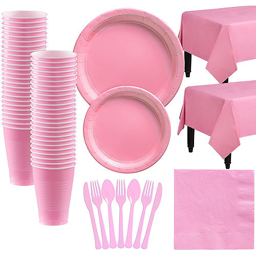 Pink Paper Tableware Kit for 50 Guests Image #1