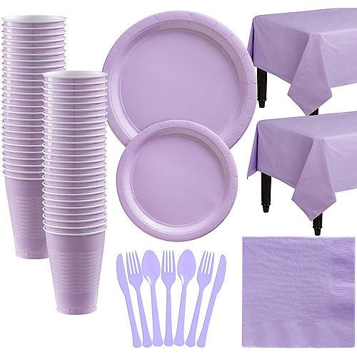 Lavender Paper Tableware Kit for 50 Guests Image #1