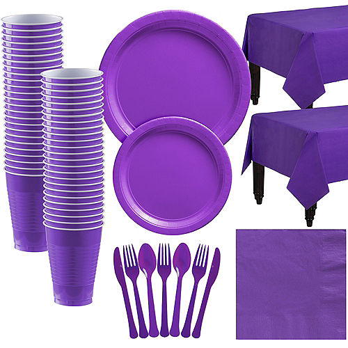 Purple Paper Tableware Kit for 50 Guests Image #1