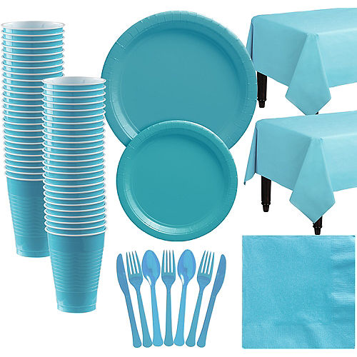 Caribbean Blue Paper Tableware Kit for 50 Guests Image #1