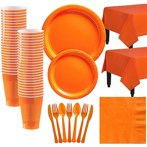 Orange Paper Tableware Kit for 50 Guests Image #1
