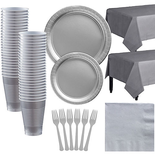 Silver Paper Tableware Kit for 50 Guests Image #1