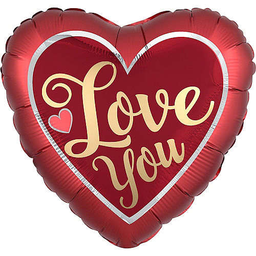 Giant Iridescent & Red Love You Heart Balloon, 28in Image #1