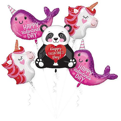 Valentine's Day Blushing Animals Balloon Bouquet 5pc Image #1