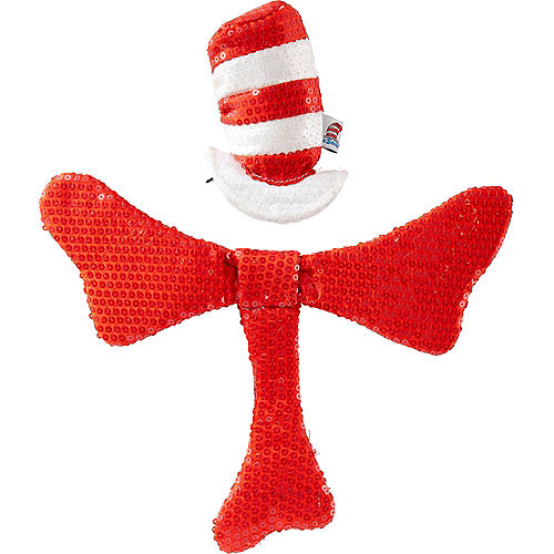 Cat in The Hat Sequin Hair Clip-On Hat & Bow Tie Kit  - Dr. Seuss Image #1