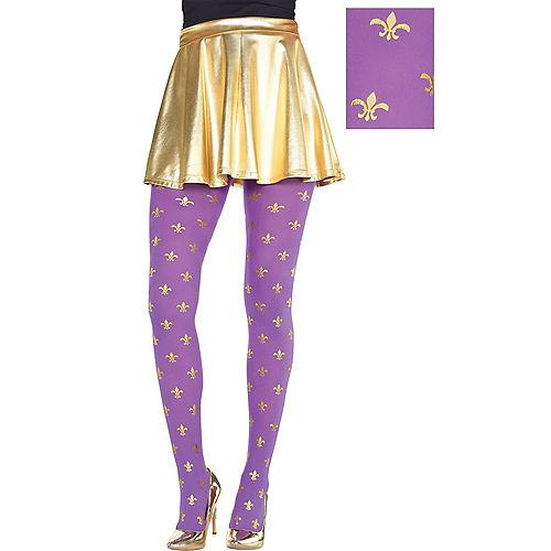 Adult Purple & Gold Fleur-de-Lis Mardi Gras Tights Image #1