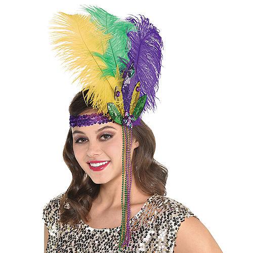 Feather Sequin Mardi Gras Headband Image #1