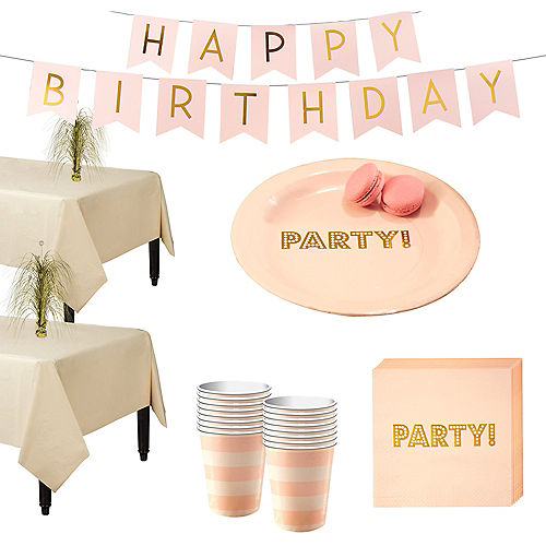 Ginger Ray Metallic Gold & Pink Tableware Kit for 16 Guests Image #1