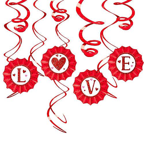 Valentine's Day Love Fan & Swirl Decorations 12pc Image #1