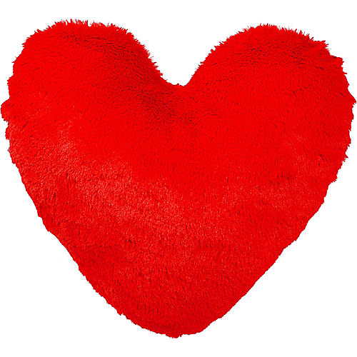 Red Shaggy Heart Pillow Image #1