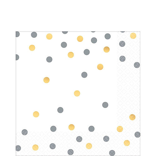 Metallic Gold & Silver Confetti Premium Tableware Kit for 20 Guests Image #5
