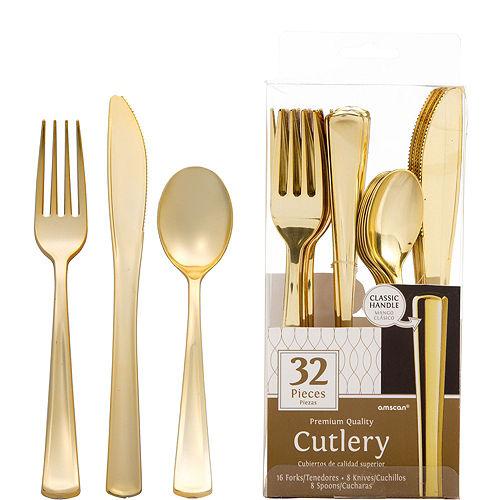 Metallic Gold & Silver Confetti Premium Tableware Kit for 20 Guests Image #7