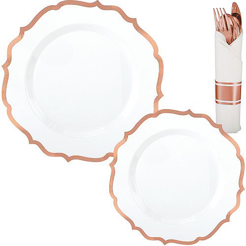 White Rose Gold-Trimmed Ornate Premium Tableware Kit for 40 Guests Image #1