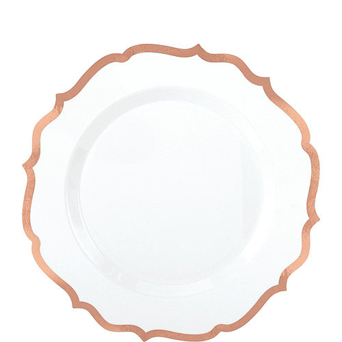 White Rose Gold-Trimmed Ornate Premium Tableware Kit for 40 Guests Image #2