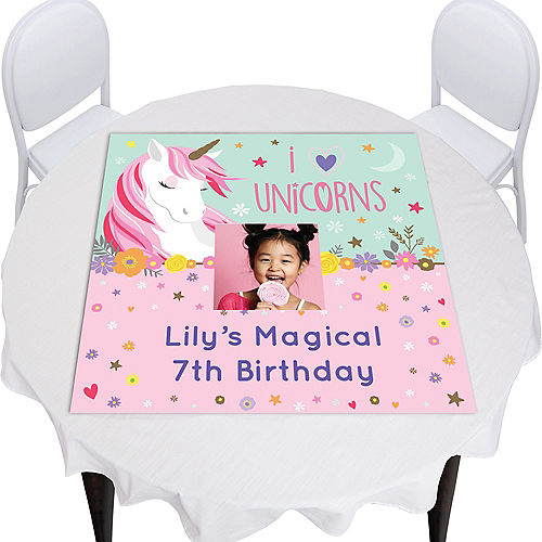 Custom Magical Unicorn Square Vinyl Photo Table Topper Image #1
