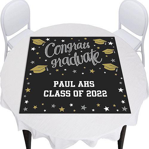Custom Black, Gold & Silver Graduation Square Vinyl Table Topper  Image #1