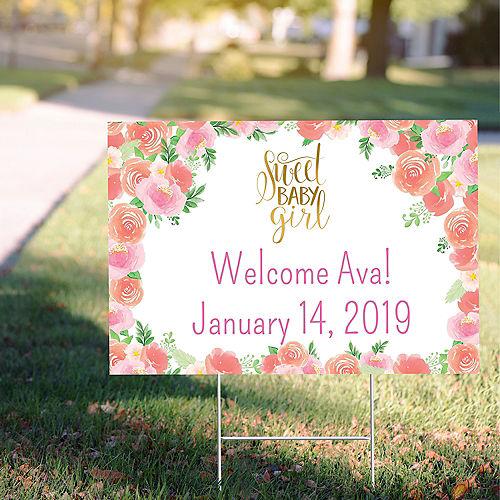 Custom Floral Baby Yard Sign Image #1