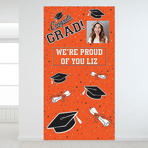 Custom School Colors Pride Orange Graduation Photo Backdrop Image #1