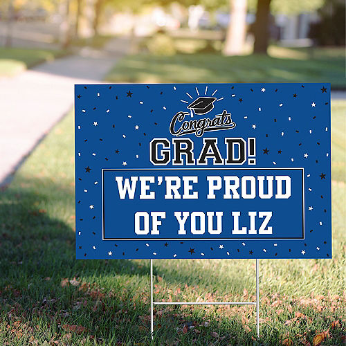 Custom School Colors Pride Blue Yard Sign Image #1