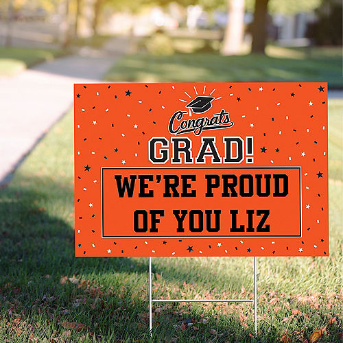 Custom School Colors Pride Orange Yard Sign Image #1
