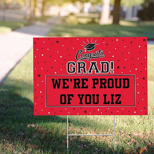 Custom Red Graduation Yard Sign Image #1