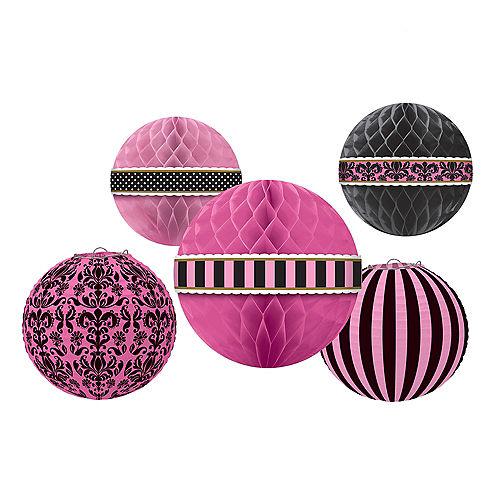 A Day in Paris Honeycomb Balls & Paper Lanterns 5ct Image #1