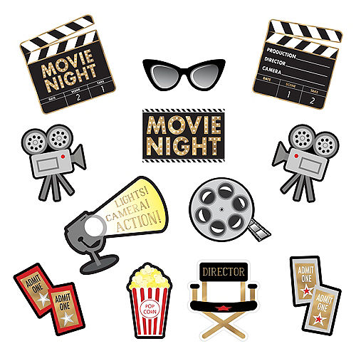 Movie Night Cardstock Cutouts 12pc Image #1