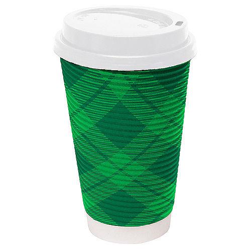 Green Tartan St. Patrick's Day Coffee Cups with Lids, 16oz, 8ct Image #1